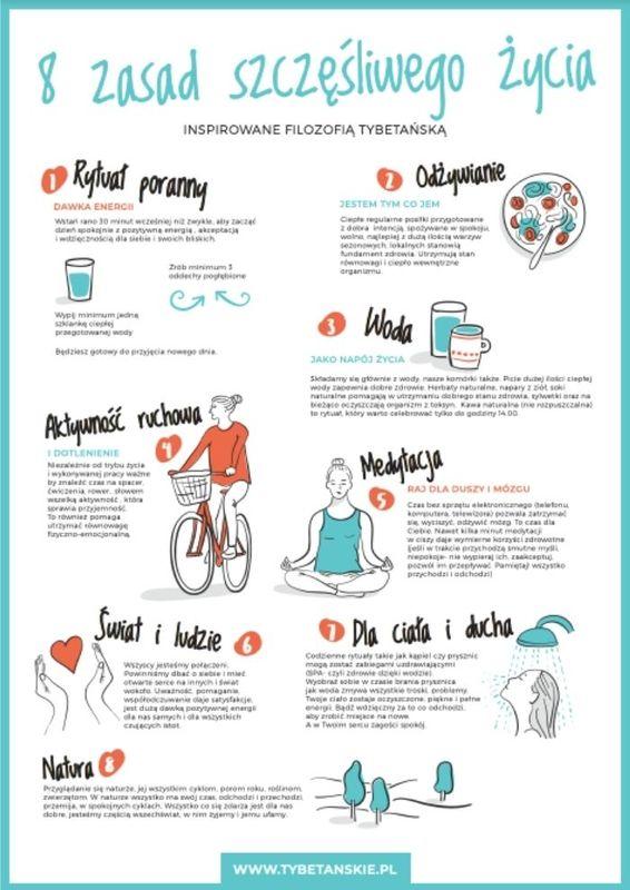 8 zasad szczęśliwego życia – infografika