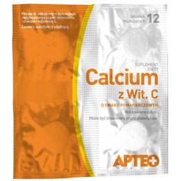 Apteo Calcium z witaminą C o smaku pomarańczowym